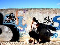 стена девушки Стоковые Изображения