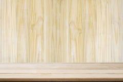 Стена деревянного фона деревянная и деревянный стол с пустой Стоковые Фото