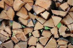 Стена деревянных частей, для места огня Стоковая Фотография