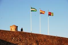Стена замка и флаги, Малага Стоковые Изображения RF
