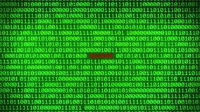 Стена зеленого бинарного кода показывая ПРОРУБЛЕННУЮ предпосылку матрицы данных