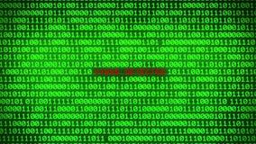 Стена зеленой предпосылки матрицы двоичных данных бинарного кода показывая ОБНАРУЖЕННОЙ ВИРУСОМ