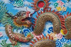 Стена искусства дракона и предпосылка обоев Стоковые Фото