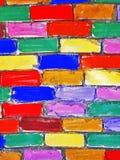 стена кирпича покрашенная дет Стоковая Фотография