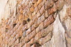 стена кирпича старая померанцовая Стоковое Фото