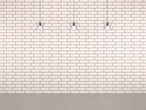 Стена кирпичей живущей комнаты белая с лампой украшения стоковые фотографии rf