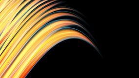 Стена красивой яркой пестрой желтой оранжевой энергии конспекта волшебная космическая пламенистая неоновая линий и нашивок, волн, иллюстрация штока