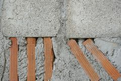 Стена красного кирпича и цемента Стоковая Фотография RF