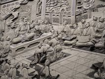 Стена крупного плана красивая высекая о Guan Yu на виске Wen Wu озера лун Солнца стоковые фотографии rf