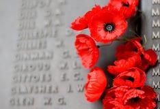Стена мака перечисляет имена всех австралийцев которые умерли в обслуживании армий Стоковая Фотография