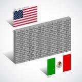Стена между Соединенными Штатами и Мексикой, концепцией стены границы иллюстрация штока