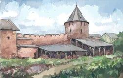 Стена монастыря, акварель Стоковые Фото