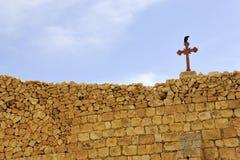 Стена монастыря mar Saba, Израиль. стоковое изображение