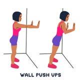 Стена нажимает поднимает Exersice спорта Силуэты женщины делая тренировку Разминка, тренируя бесплатная иллюстрация