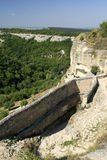 Стена обороны Chufut-листовой капусты города пещеры стоковая фотография
