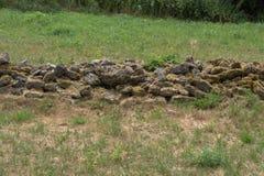 Стена поля Unmortared каменная грубых, unworked камней Стоковое Изображение