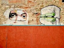 Стена портрета искусства улицы граффити в гетто outskirts Стоковая Фотография