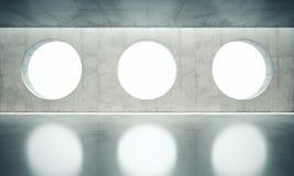 Стена пустого пространства внутренняя с окнами белизны 3 иллюстрация штока
