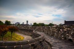 Стена древнего города в Нанкине Стоковые Фотографии RF