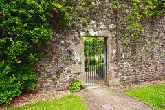 стена сада старая каменная стоковая фотография
