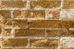 стена сбора винограда текстуры красного цвета кирпича Предпосылка старой выдержанной, таянной и треснутой кирпичной стены глины Стоковые Изображения RF