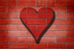стена сердца надписи на стенах кирпича Стоковое Изображение