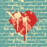 стена символа сердца кирпича иллюстрация штока