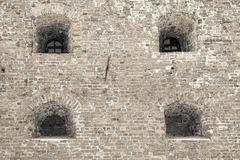 Стена старых крепости или тюрьмы Стоковая Фотография RF