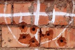 Стена с повреждением пули Стоковое Изображение