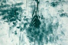 Стена с поцарапанной зеленым цветом выдержанной краской картины Стоковое фото RF