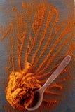 стена текстуры кирпича предпосылки старая Порошок перца красных чилей смешал с деревянной ложкой Взгляд сверху Стоковые Фотографии RF
