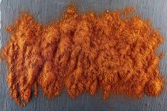 стена текстуры кирпича предпосылки старая Порошок перца красных чилей Взгляд сверху Стоковые Изображения