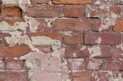 стена текстуры кирпича старая Слезать покрашенную поверхность Brickwall Grunge Красная каменная предпосылка с поврежденным гипсол Стоковое Изображение RF