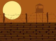 Стена тюрьмы с силуэтом башни предохранителя бесплатная иллюстрация