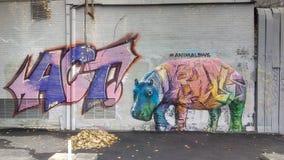 стена улицы надписи на стенах искусства цветастая покрытая Идеальный красочный гиппопотам покрашенный талантливым художником улиц стоковое изображение rf