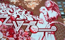 стена улицы надписи на стенах искусства цветастая покрытая Стоковые Изображения