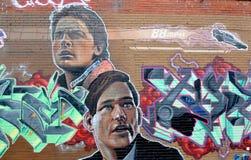стена улицы надписи на стенах искусства цветастая покрытая Стоковое Изображение RF