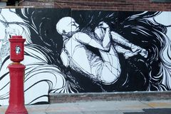 стена улицы надписи на стенах искусства цветастая покрытая Стоковое Фото