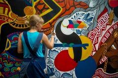 стена улицы надписи на стенах искусства цветастая покрытая стоковое фото rf