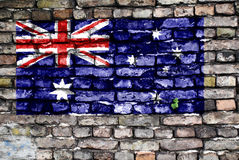 стена флага кирпича Австралии старая покрашенная Стоковая Фотография RF