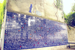 Стена я тебя люблю внутри Парижа Стоковая Фотография RF