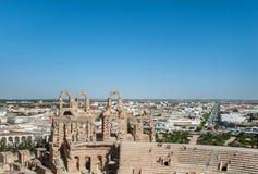 Стена Colosseum в Тунисе Стоковое Фото