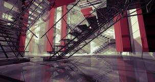 стена 3d. Современный промышленный интерьер, лестницы, чистый космос в indu стоковое фото