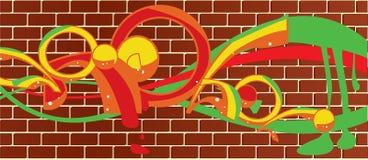 стена graffitti кирпича Стоковая Фотография RF