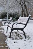 Стенды под снегом в зиме, в Будапеште, Венгрия Стоковые Фото