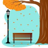 Стенд в парке в осени иллюстрация вектора