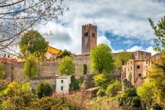 Стены города и башня города Motovun на Istria в Хорватии стоковое изображение