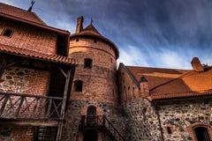 Стены замка Trakai, Литвы стоковые фотографии rf