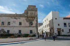 Стены и старые дома средневекового medina Essaouira, Марокко стоковые изображения