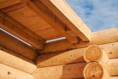Стены и overlappings деревянного дома Стоковое Изображение RF